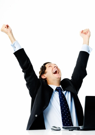 raises: Businessman sealing his first deal and raises both arms in the air Stock Photo