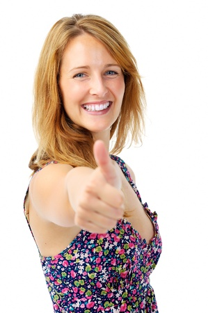 Beautiful woman gives the thumbs up hand gesture as a form of motivation Stock Photo - 11900165