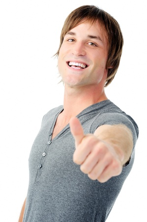 happy thumbs up man smiling isolated on white Stock Photo - 11900190