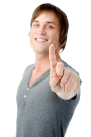 man shows hand gesture for the number one Stock Photo - 11900348