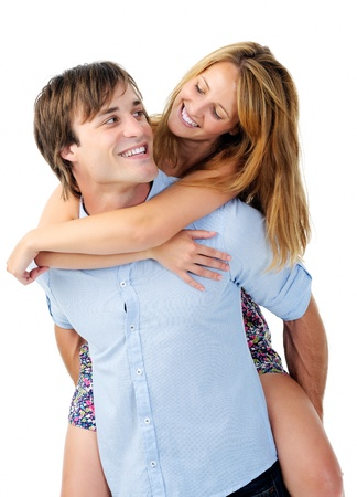 boyfriend gives girfriend a piggyback, having fun together isolated on white Stock Photo - 11900116