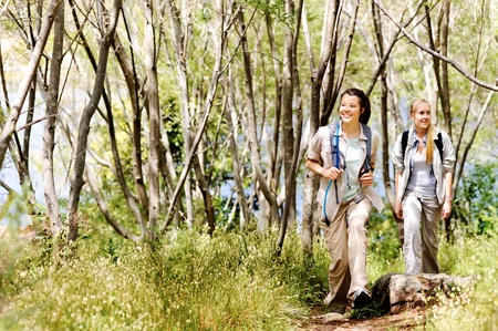 Women walking outdoor in the woods, happy exploring and adventure lies ahead for these wilderness trekking friends Stock Photo - 11899979