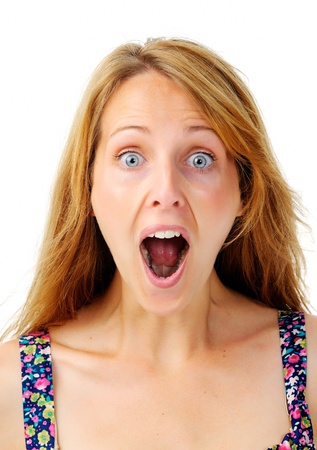 impressed: Close up of a woman with a surprised face