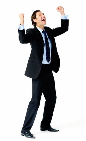 body language: Excited businessman pumps both fists in the air in a celebratory gesture