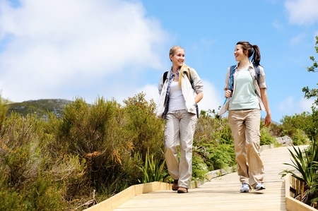 two friends walk outdoors along a wooden pathway photo