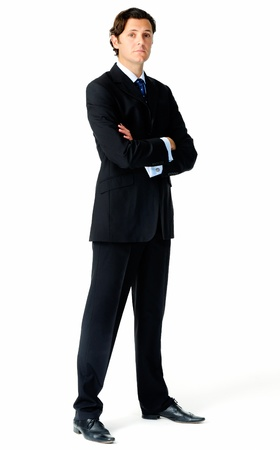 'body language': Full length portrait of an arrogant caucasian businessman Stock Photo