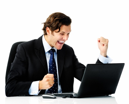 enthusiastic: Businessman sealing his first deal and does fist pumps