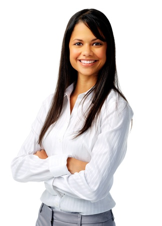 business woman: Confident hispanic woman in white blouse, isolated on white Stock Photo