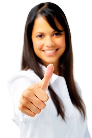 Smiling businesswoman with thumbs up, isolated on white photo