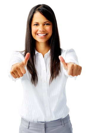long sleeved: Successful indian businesswoman with two thumbs up, isolated on white