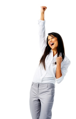 Businesswoman raises one fist in the air in joy, isolated on white Stock Photo