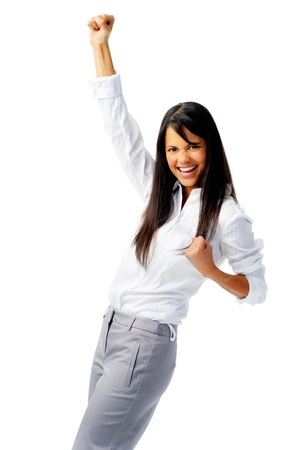 Business worker punches fist into the air, isolated on white photo