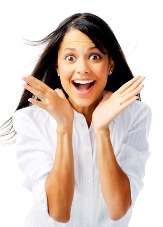boca abierta: Hermosa empresaria de raza mixta sonriendo con la boca abierta y las palmas abiertas Foto de archivo