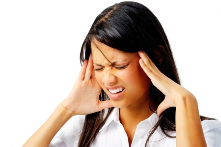 bad woman: Corporate woman suffering a bad headache, isolated on white Stock Photo