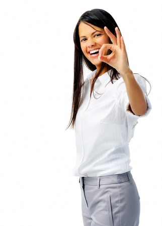 long sleeved: Businessperson shows OK hand sign in studio, isolated on white