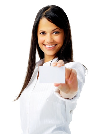 businesswoman card: Businesswoman holding a blank card