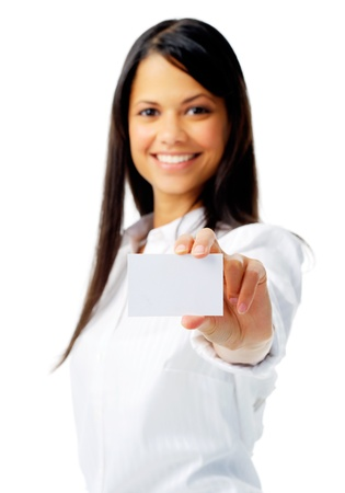 Businesswoman holding a empty sign, isolated on white with selective focus photo