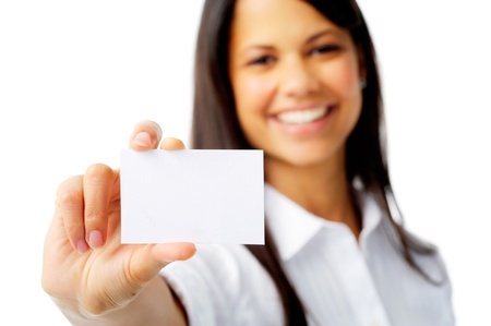 long sleeved: Businesswoman shows a blank card for marketing, isolated on white Stock Photo