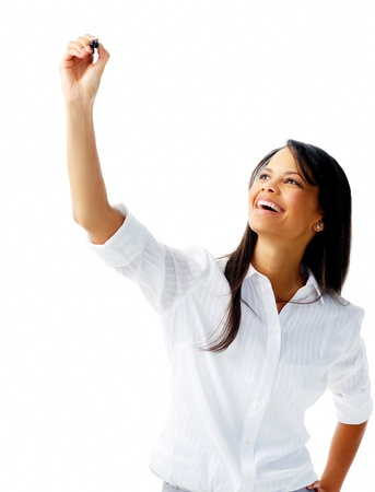 long sleeved: Businesswoman in long sleeved shirt holds up a felt tip pen to write in mid air, isolated on white