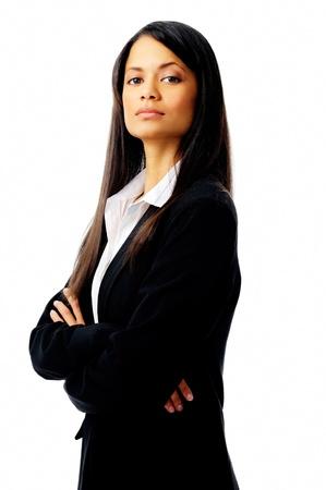 alle vertrouwen in een succesvolle zakenvrouw op wit wordt geïsoleerd