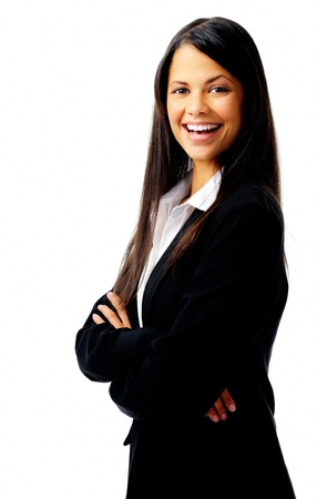 confident young businesswoman laughing isolated on white photo