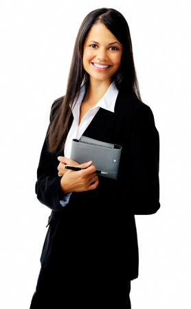 businesswoman standing with organizer diary and smiling photo
