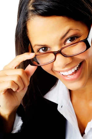 fun portrait of a businesswoman with glasses happy smiling close-up photo