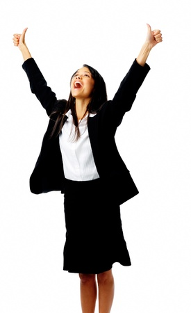 latin american ethnicity: Successful businesswoman celebrates with her arms up in victory, isolated on white