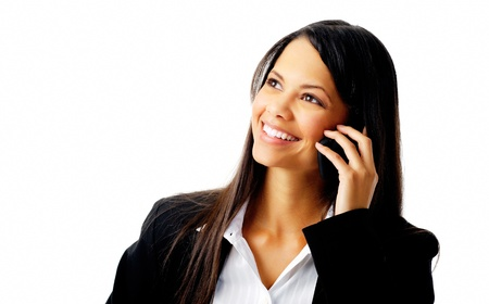 happy confident businesswoman talking on the mobile cell phone isolated on white photo