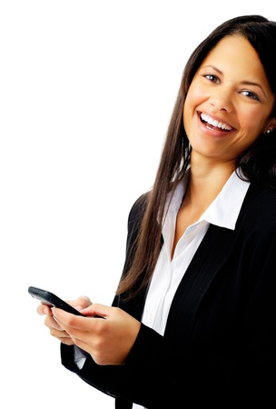 woman laughing with cell phone text message while wearing a suit isolated on white Stock Photo - 12347548