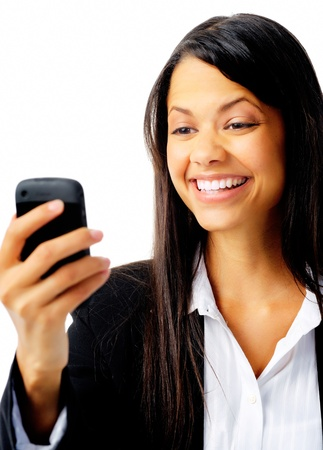 businesswoman is happy and using her phone to text message isolated on white photo