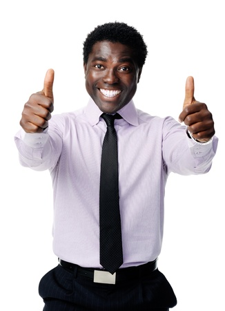 Black businessman shows a positive thumbs up gesture as a sign of motivation Stock Photo - 12753246