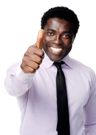 well done: Black businessman shows a positive thumbs up gesture as a sign of motivation Stock Photo