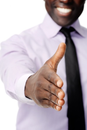 Black african businessman handshake to show business agreement photo