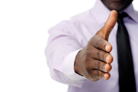 Black african businessman handshake to show business agreement Stock Photo - 12753141