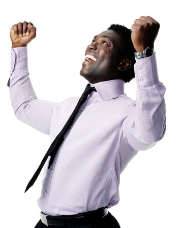 successful black businessman celebrating and cheering isolated on white photo