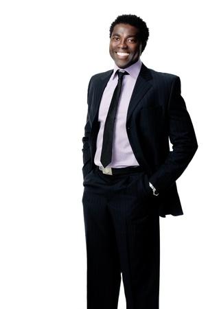 black business man: attrayant portrait en noir homme d'affaires