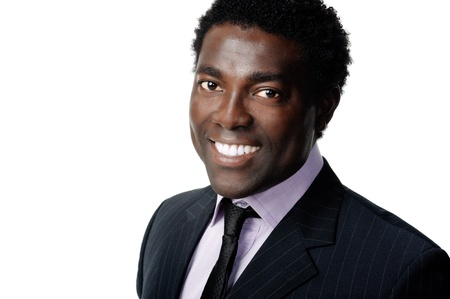 african businessman: black african businessman portrait headshot smiling and positive Stock Photo