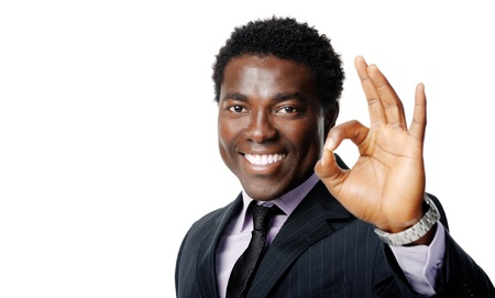 ok hand sign gesture from a black african businessman Stock Photo - 12753257