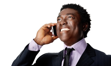 Happy business conversation african man laughing and chatting on the phone Stock Photo - 12753318
