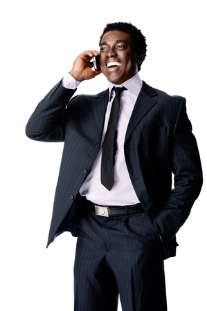 laugh phone conversation black businessman Stock Photo - 12753283