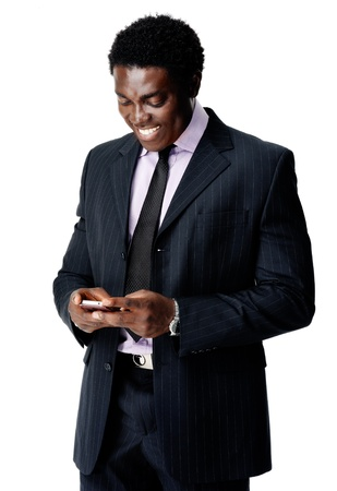 communication cell phone man sends a text message with his smartphone Stock Photo - 12753329