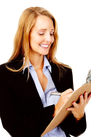 succesful: Business woman with a clipboard taking notes on a survey. smile and happy women