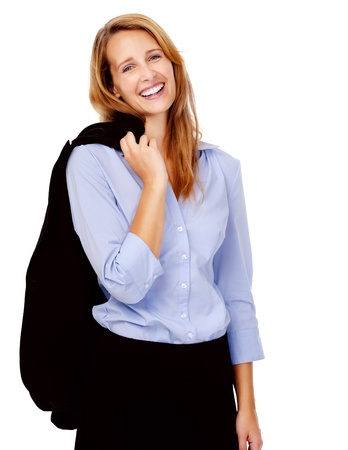 succesful: Happy smiling young business woman portrait