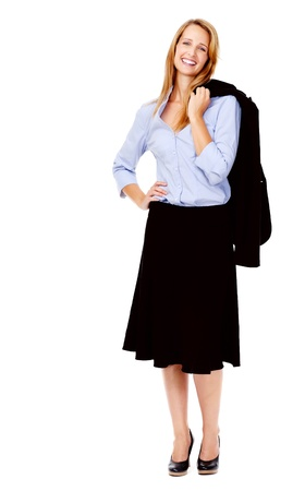 full length happy smiling business woman isolated on white Stock Photo - 13025430