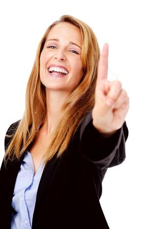 numero uno: gesto con la mano el número uno con la mujer de negocios feliz sonriendo aislado en blanco