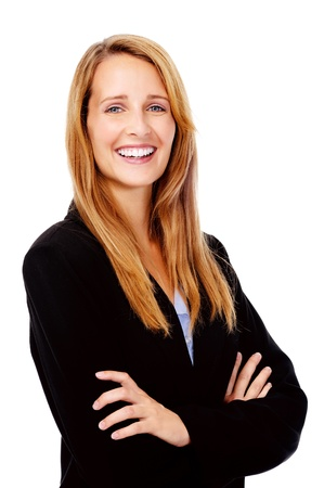 succesful: confident young businesswoman smiling portrait isolated on white