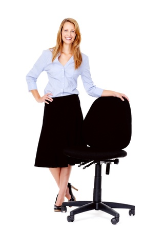 empty chair: recruitment concept business woman standing with empty office chair isolated on white