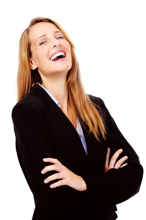 laughing confident businesswoman portrait isolated on white photo