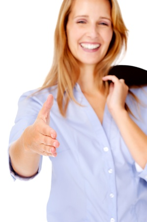 greets: business handshake businesswoman is smiling and cheerful Stock Photo